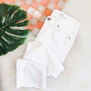 J. Crew • White Straight Leg Raw Hem Denim Jeans